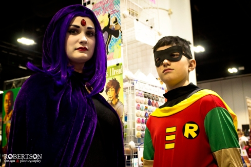 Raven and Robin cosplay by @placentagal and her son