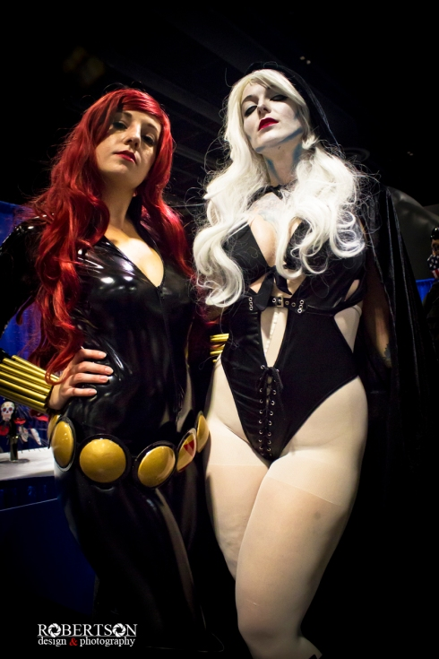 Black Widow and Lady Death by @amynicolecosplay and @gothicsushi2