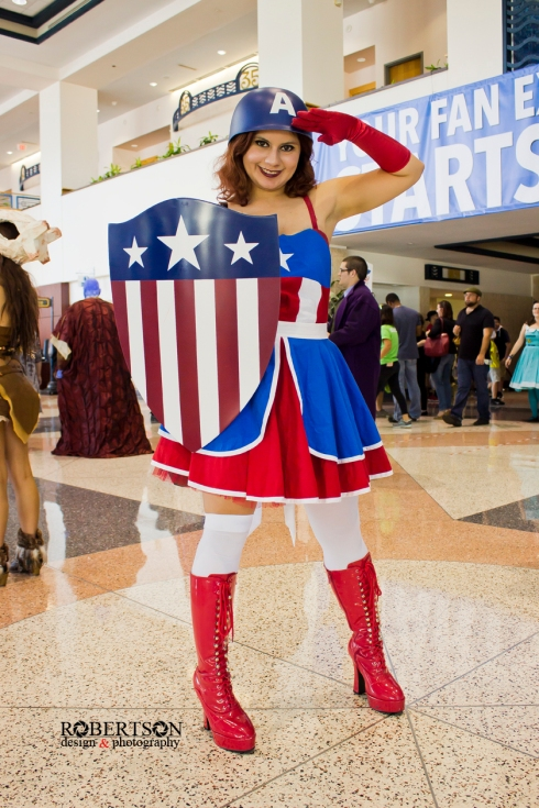 A cute Captain America cosplay by @missrockersupreme